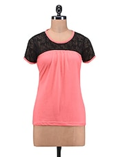 Pink Viscose Knit Top With Lace Yoke - By