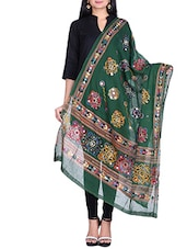 Green Cotton Jamdani Dupatta - By