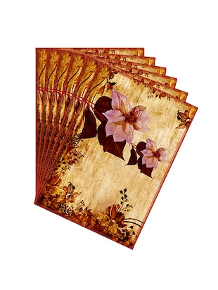 Leaf Designs Pale Pink & Sepia Vintage Table Mats - Set of 6 -  online shopping for Placemats