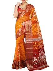 Orange Silk Blend Woven Saree -  online shopping for Sarees