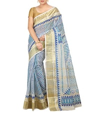 Blue Cotton Printed saree -  online shopping for Sarees