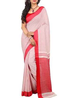 Pink Cotton Tant Saree -  online shopping for Sarees