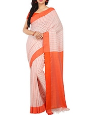 White Cotton Tant Saree -  online shopping for Sarees