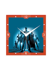 Multicolor Engineered Wood Super Heros In Blue Wall Clock - By