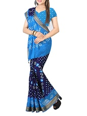 Sky Blue & Blue Cotton Bandhani Saree -  online shopping for Sarees