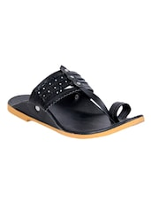 black synthetic slip on mojaris -  online shopping for Mojaris