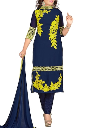 blue georgette straight semistitched suit -  online shopping for Semi-Stitched Suits