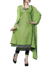 Green Embroidered Chanderi Cotton Unstitched Salwar Suit Piece - By