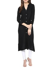 Black Cotton Plain Long Kurta - By