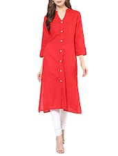 Red Cotton Plain Long Kurta - By