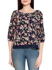 navy blue floral printed georgette regular top -  online shopping for Tops