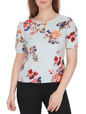 white floral printed crepe regular top -  online shopping for Tops