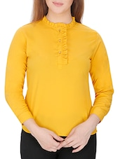 yellow crepe top -  online shopping for Tops