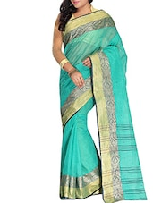 Sky blue cotton tant saree -  online shopping for Sarees