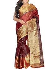 Maroon Silk Blend Handwoven tangail Saree -  online shopping for Sarees