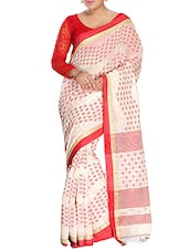 White silk blend handloom saree -  online shopping for Sarees