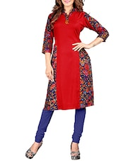 red rayon aline kurta -  online shopping for kurtas