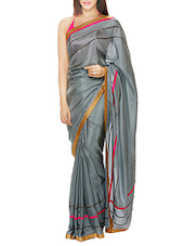 Grey hand embroidered silk saree -  online shopping for Sarees
