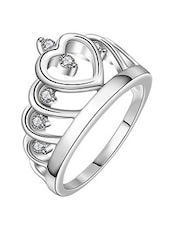 Rhodium Plated Austrian Crystal Ring For Women - By