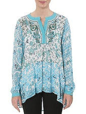 Blue Floral Printed Viscose Georgette Kurti - By