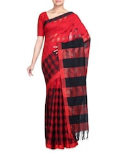 Red With Black Viscose And Art Silk Saree - By