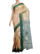 Beige Tone Cotton Silk  Jamdani Saree - By