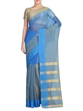 Blue With Gold Color Art Silk Viscose Saree - By
