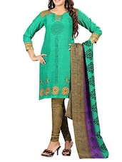 Green Printed Poly Cotton Unstitched Suit Set - By