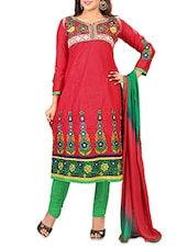 Red Cotton Embroidered Unstitched Suit Piece - By
