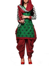Printed Green Cotton Unstitched Suit Set - By