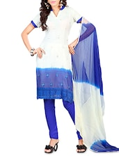 White & Blue Chiffon Embroidered Saree - By