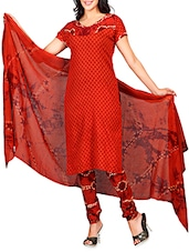 Red Embroidered Cotton Semi Stitched Suit - By