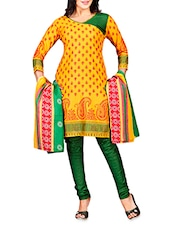 Yellow Embroidered Poly Cotton Semi Stitched Suit - By