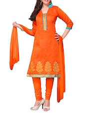 Orange Embroidered Chanderi Cotton Semi Stitched Suit - By
