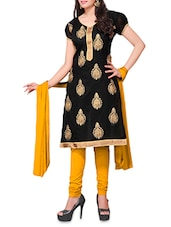 Black Embroidered Chanderi Cotton Semi Stitched Suit - By