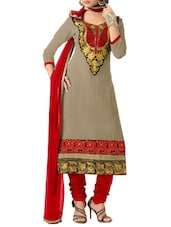 Multicolored Chanderi Cotton Semi-Stitched Dress Material - By