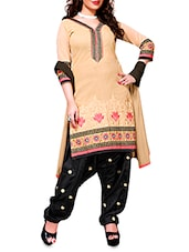 Beige Embroidered Chanderi Cotton Semi Stitched Suit - By
