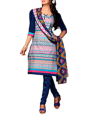 Multicolor Printed Cotton Unstitched Suit - By
