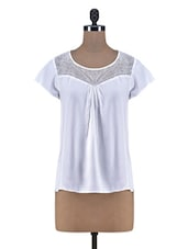 White Viscose Net Short Sleeve Top - By