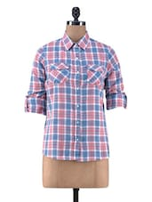 Blue And Pink Cotton Check Print Top - By