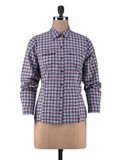 Multicolored Cotton Check Print Top - By