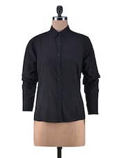 Solid Black Cotton Full Sleeve Shirt - By