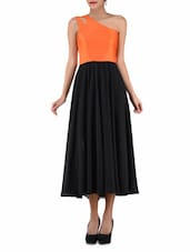 One-Shoulder Orange And Black Dress - By