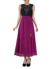 Plum Long Dress With Slit - By