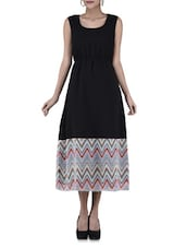 Black Printed Poly Georgette Dress - By