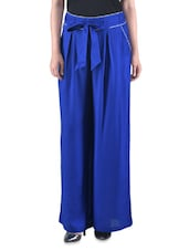 Blue Plain Rayon Top With Waist Belt - By