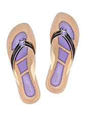 Purple And Black Faux Leather Slip Ons - By