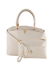 white leatherette handbag, pouch and sling (set of 3) -  online shopping for handbags