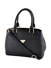 Black leatherette handbag with sling -  online shopping for handbags