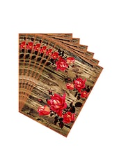 Leaf Designs Natural & Red Table Mat - Set of 6 -  online shopping for Placemats